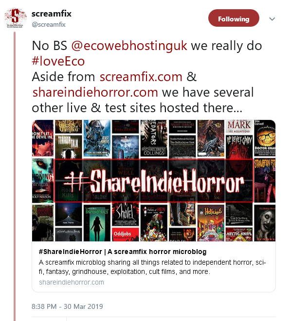 Screenshot of a tweet from screamfix saying No BS ecowebhosting we really do #loveEco Aside from screamfix.com and shareindiehorror.com we have several other live and test sites hosted there...