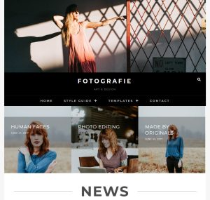 Example of a photography site with the Fotografie theme