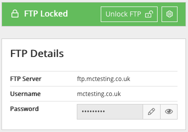 Screenshot of the panel where you find your FTP details and unlock your FTP