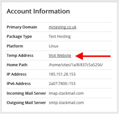 Screenshot of where you can find your temporary web address for your hosting package