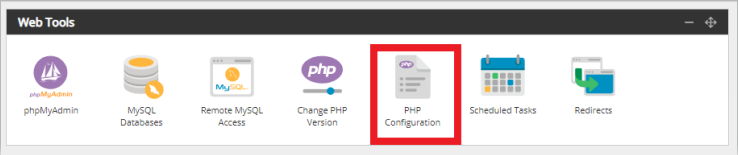 Screenshot of the Web Tools section of the hosting control panel with PHP Configuration highlighted with a red box.