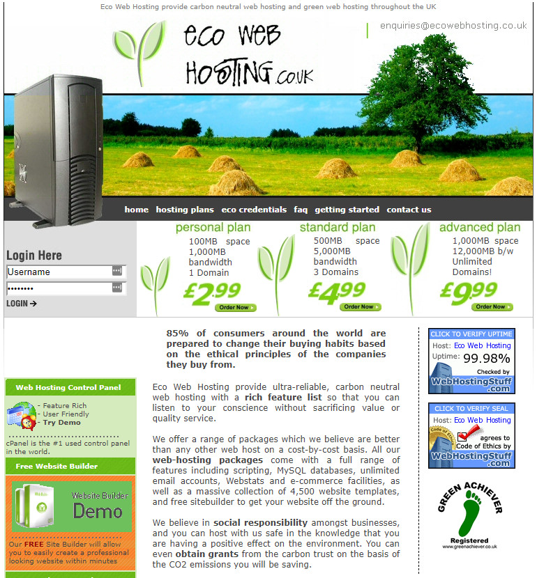 Screenshot of the Eco Web Hosting home page from 2007