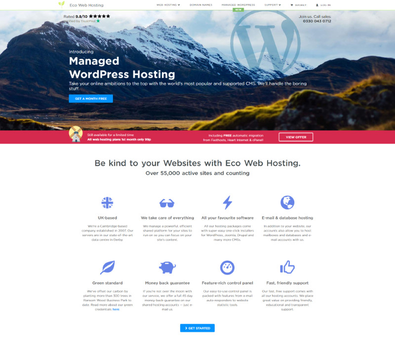 Screenshot of the previous Eco Web Hosting home page
