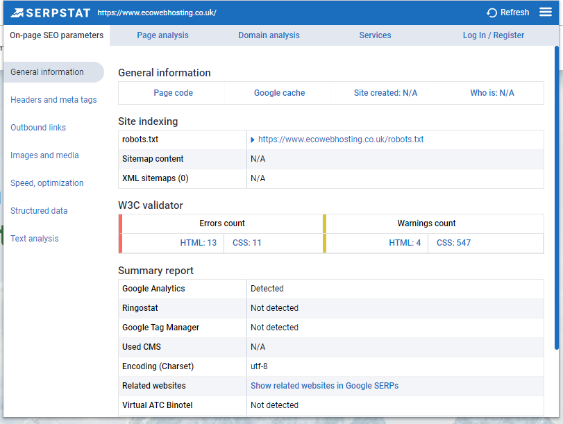 Screenshot of the SerpStat SEO toolbar showing the general information for the Eco Web Hosting website.
