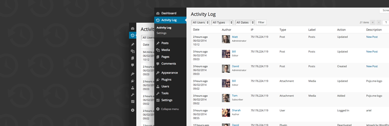 The banner for the Activity Log WordPress plugin.
