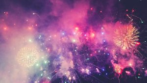 Multicoloured fireworks at night