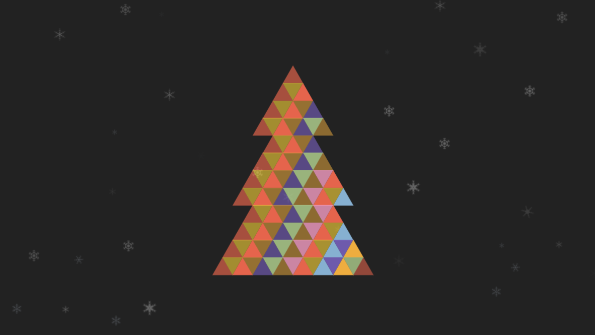 Screenshot of Andrew Hawkes' SCSS random() Christmas Tree Codepen