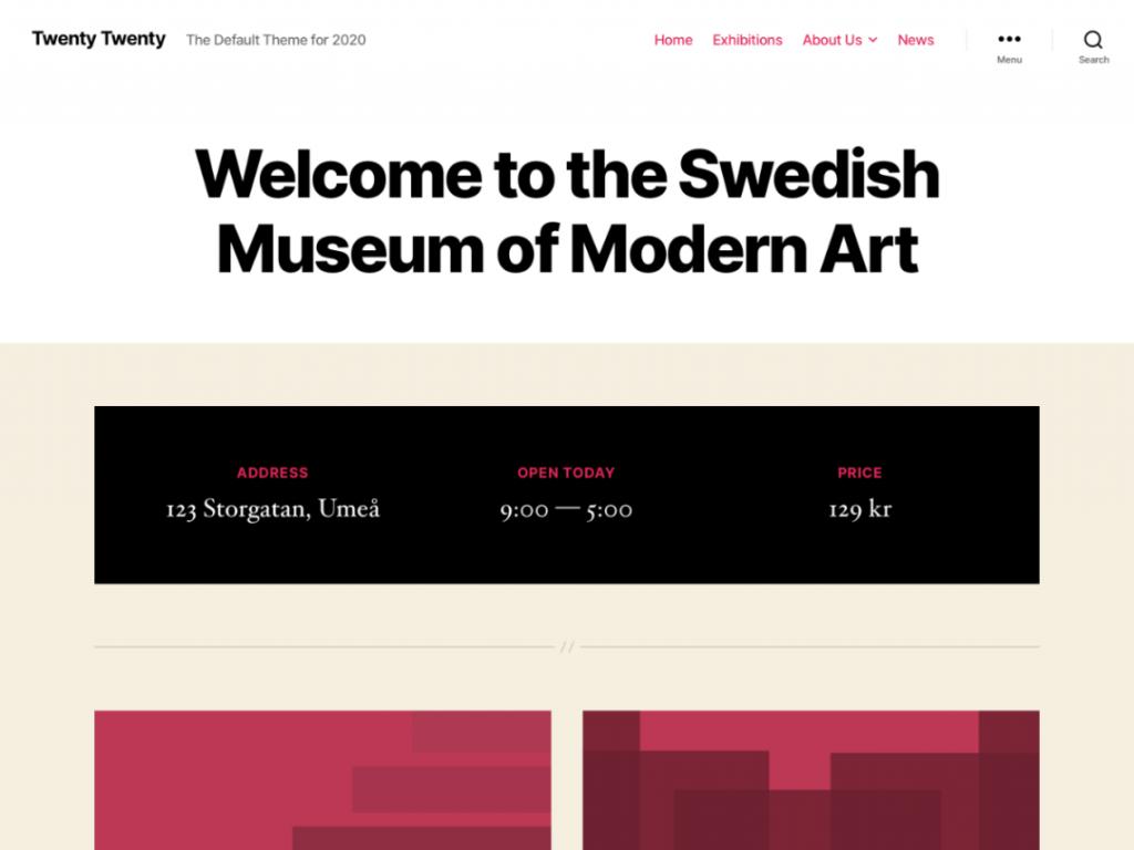 Screenshot of the Twenty Twenty WordPress theme