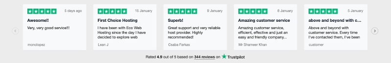 Screenshot of the Trustpilot widget that was causing the mixed content warning.