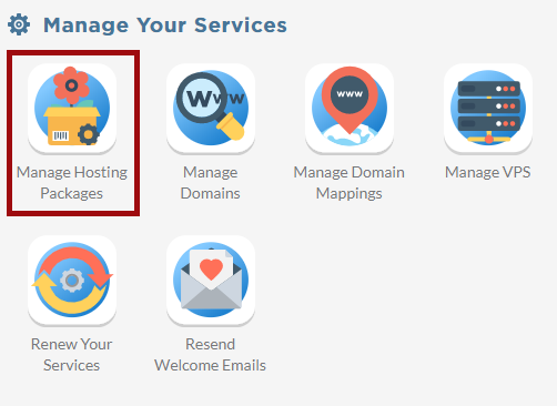 Screenshot of the Account Control Panel's Manage Your Services section with the icon for Manage Hosting Services indicated by a box.