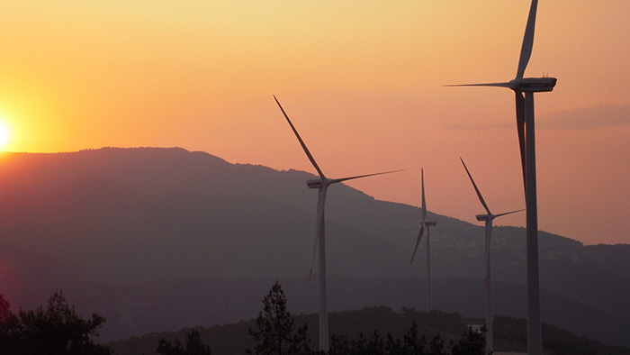 Wind turbines in the sunset in Turkey