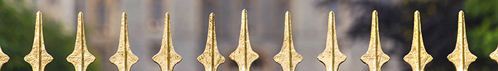 Gold painted fence spikes