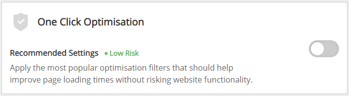 Screenshot of the One-Click Optimisation option in the CDN page