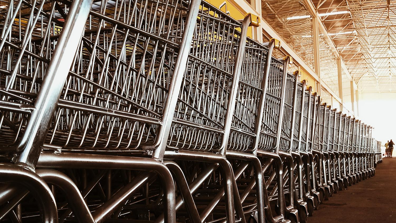 A row of shopping carts