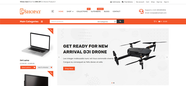 Screenshot of the Shopay WordPress e-commerce theme