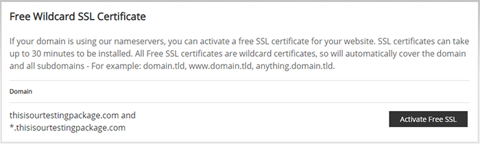 Screenshot of the Free Wildcard SSL Certificate box on the SSL/TLS page, showing where to activate your free SSL certificate.