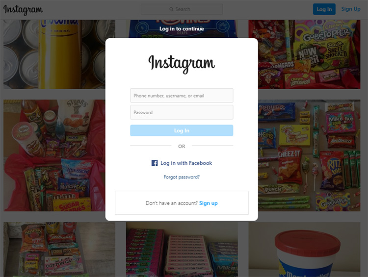 Screenshot of an Instagram page for a store selling American candy, with a large login modal window blocking the products on the page.