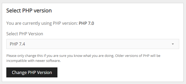Screenshot of the Select PHP Version menu, with PHP 7.4 selected.