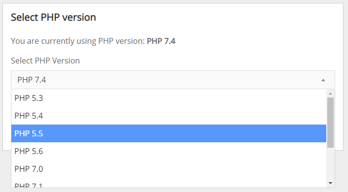 Screenshot of the Select PHP Version menu, with PHP 5.5 selected.