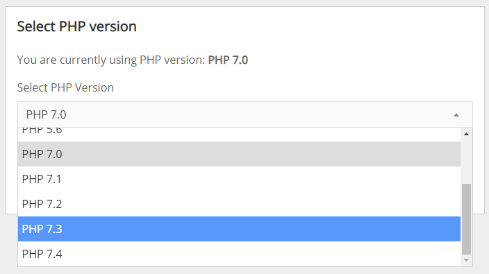 Screenshot of the Select PHP Version menu, with PHP 7.3 selected.