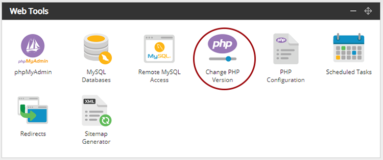 Screenshot of the hosting control panel Web Tools panel with the Change PHP Version icon circled.