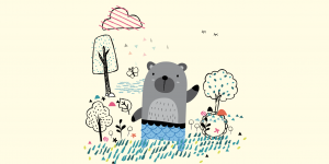 drawing of a bear in a garden by elsystudio, which Patrick Heng animated in CodePen