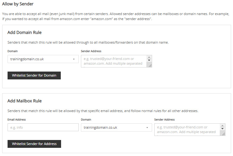 Screenshot of the Allow by Sender section of the Junk Mail Filters page.