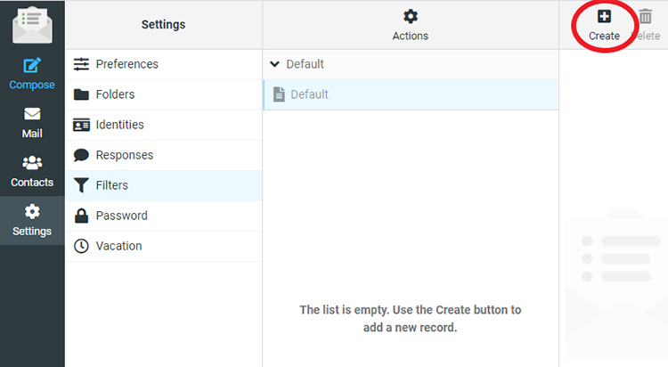 Screenshot of the Inbox Filters section of the webmail for the email address.