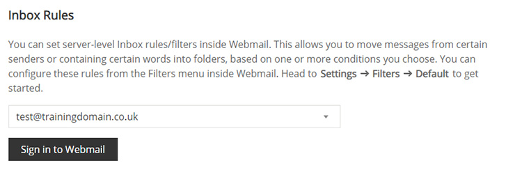 Screenshot of the Inbox Rules section of the Junk Mail Filters page.