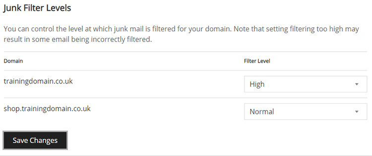 Screenshot of the Junk Filter Levels section of the Junk Mail Filters page, showing the filter levels you can choose.