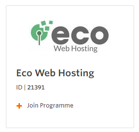Screenshot of the Eco Web Hosting Affiliate Programme sign-up form
