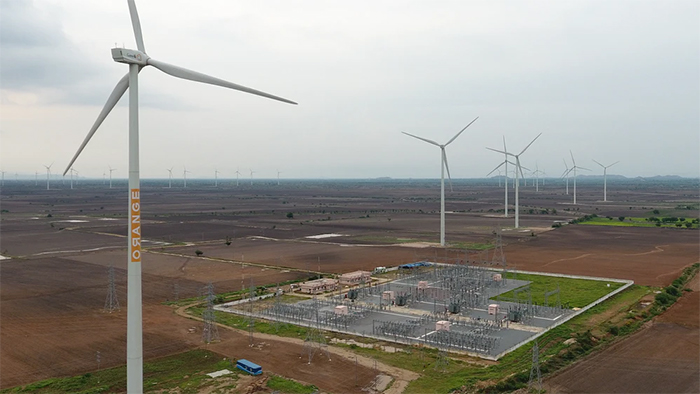 A series of wind turbines from the M/s Orange Anantapur Wind Power plant.