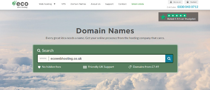 Screenshot of the Domain Names page.