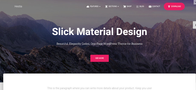 Screenshot of the Hestia WordPress theme