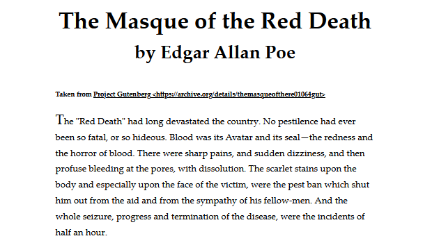 Screenshot of the Print Stylesheet example page in a print preview, showing the title The Masque of the Red Death by Edgar Allan Poe, a link to Project Gutenberg, and the first paragraph of the story.