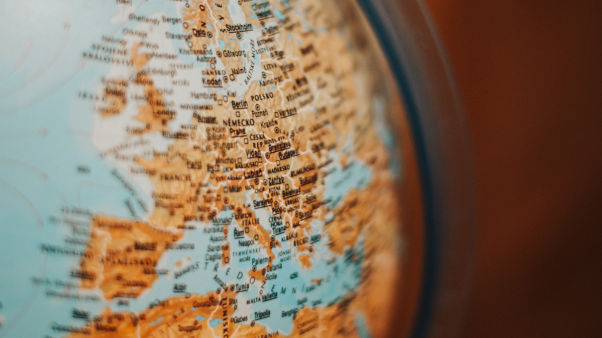 Close up on Europe and North Africa on a globe