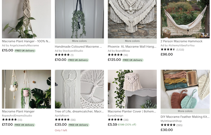 Screenshot of an Etsy page with eight Macrame crafts for sale
