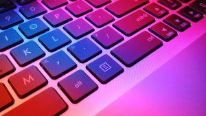 The keyboard of a Apple Macbook