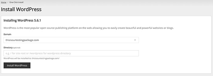 Screenshot of the Install WordPress page in your control panel.