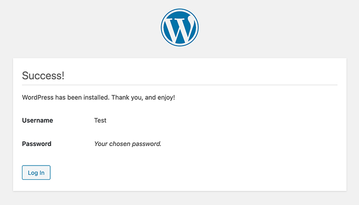 Screenshot of the WordPress successful installation page