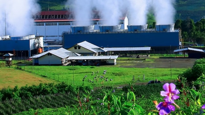 A photo of the Wayan Windu geothermal power station in West Java, Indonesia.