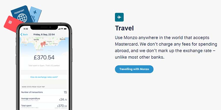 Screenshot of the Travel feature on the Monzo home page