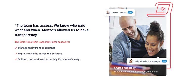 Screenshot of a customer testimonial on the Monzo website.