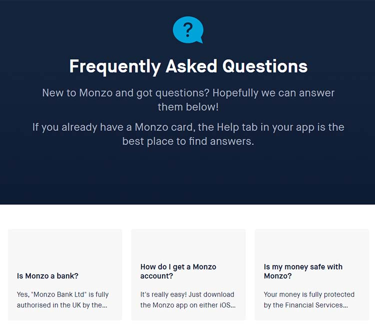 Screenshot of Monzo's Frequently Asked Questions page