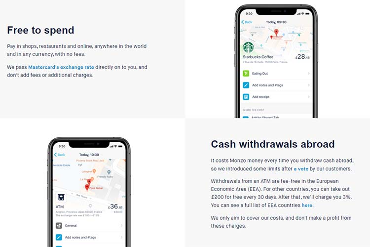 Screenshot of the Monzo page with more details on its Travel features