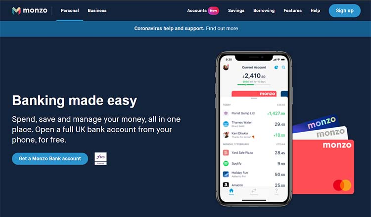 Screenshot of the Monzo home page
