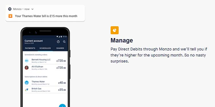Screenshot of the Manage feature on the Monzo home page