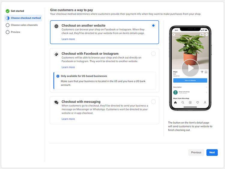 Screenshot of the checkout options in Facebook Shops, including Checkout on another website.
