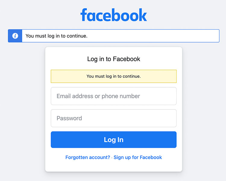Screenshot of the Facebook login page.