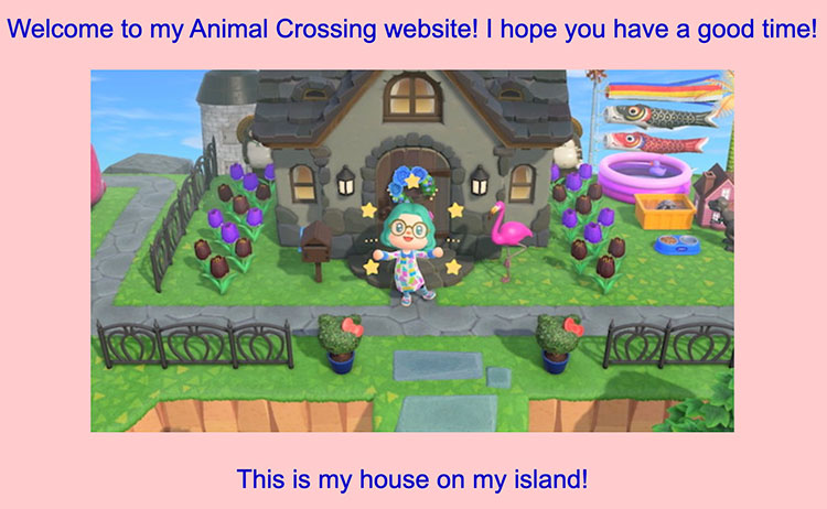 Screenshot of my Animal Crossing-themed website, with a screenshot of the video game.